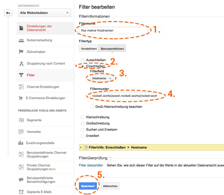 Übersicht über die Einstellungen für den neuen Filter