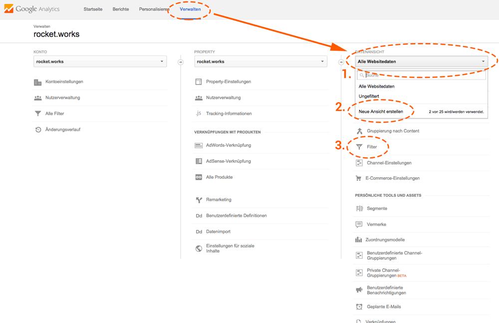 Ansicht für eine neue Datenansicht und Filter um Google Analytics Spam zu verhindern.